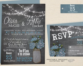 Printable Rustic Mason Jar Wedding Invitation Set, String Lights Country Chalkboard Wedding Invitation, Light Blue Peony Barn Wedding Invite