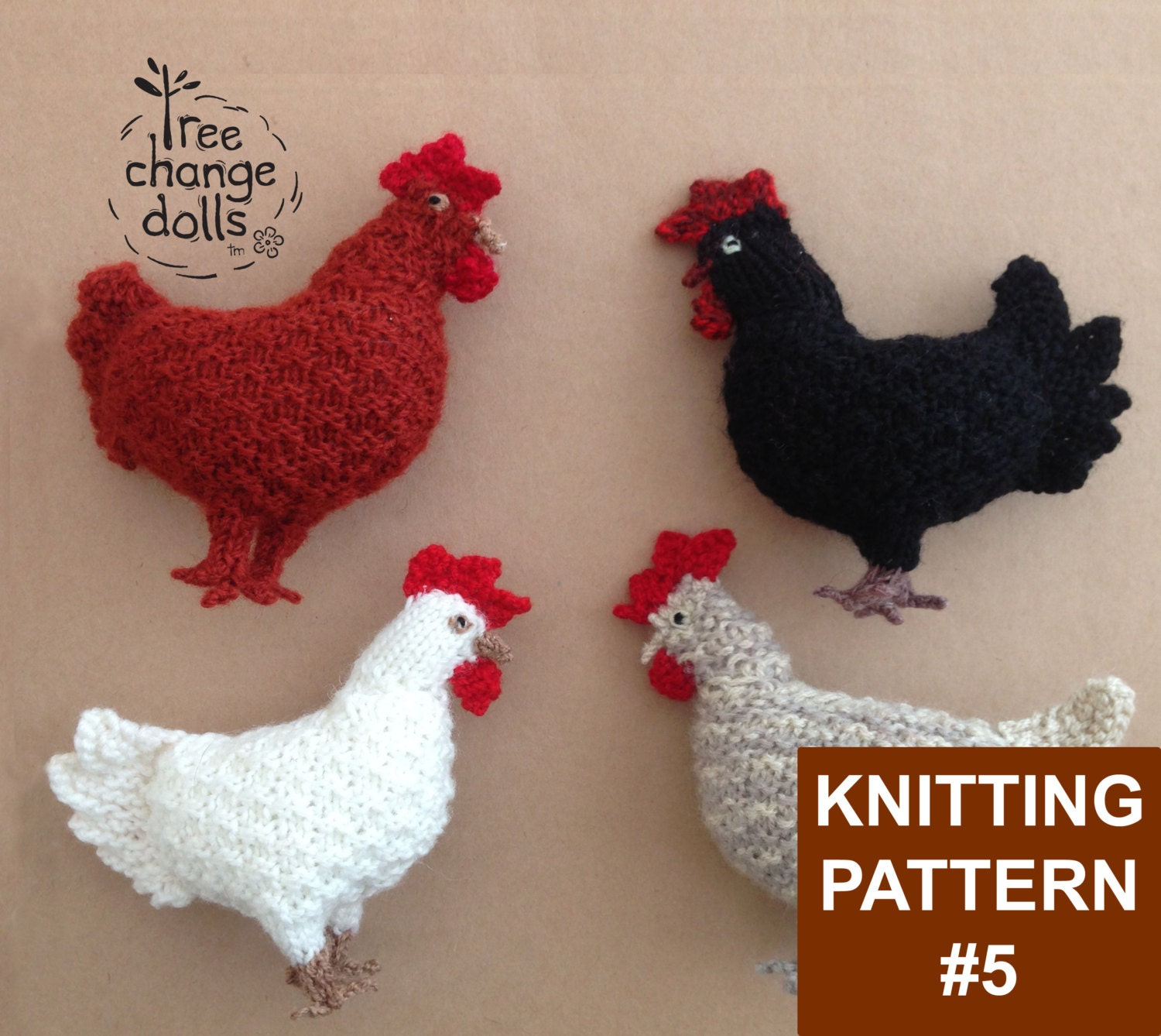Tree Change Dolls  Knitting Pattern 5 Clucky Chook by Sonia