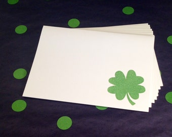 Good Luck Four Leaf Clover Folded Note Cards and Envelopes - Green and White - Set of 8