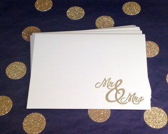 Wedding Thank You Folded Note Cards and Envelopes - Mr and Mrs - Gold and White - Set of 8