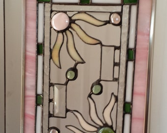 Beautiful Pink accented stained glass window hanging with flowers