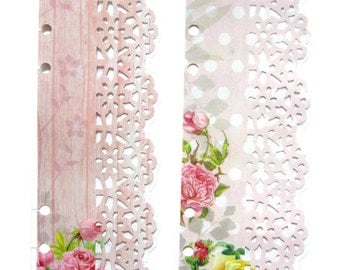 Filofax / kikki K / Franklin Covey Page Finder Page Marker Rustic Shabby Chic Lace Vintage Roses