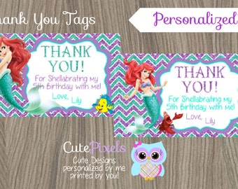 Little Mermaid Thank You Tags, Ariel Thank You Tags, Disney Little Mermaid, Little Mermaid Birthday, Princess Ariel, Mermaid Thank You Tags