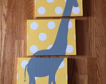 Baby Nursery Sign // Giraffe Painting // Jungle Safari themed Nursery // Minimalistic Animal Painting // Pastel Colored Nursery Sign