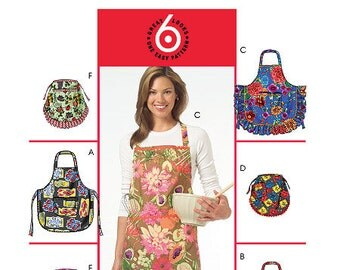 McCall's 5284, Misses Apron Pattern, 6 styles, 3 bib aprons, plain, ruffled, eyelet trim, 3 half aprons, with ruffles, or trim, new, UN-CUT