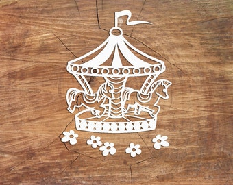 Carousel Paper Cutting template, Carousel Template, PDF SVG, Papercut Art, Personal Use PT-005