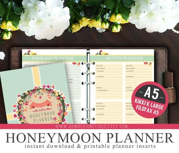 a5 ultimate honeymoon travel wedding planner organizer kit instant
