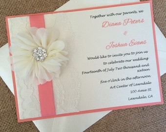 Lace wedding invitation, coral wedding invitation, shabby chic invitation, flower wedding invitation, ribbon invitation, elegant invitation