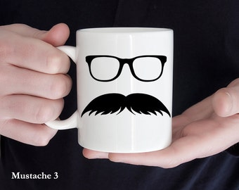 Coffee Mug Mustache Coffee Mug - Mustache and Glasses - Great Gift for Mustache Lovers