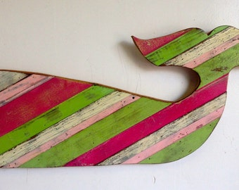 "Reclaimed Wood ""Whale"" Wall Sculpture"
