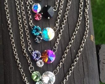 Cluster Swarovski crystal necklaces