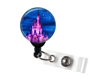 Pink Castle Badge reel, ID Badge holder, retractable badge reel,midnight sky