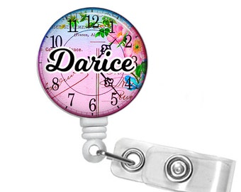 Personalized Floral Clock, Retractable ID Badge Reel (D_143)