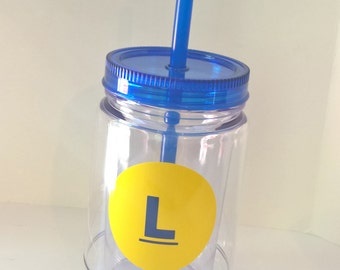 Monogram Mason Jar, Double Wall Acrylic Cup with Blue Lid