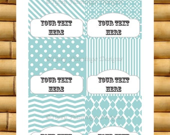 Party Food Tent Cards - Baby Shower, Wedding Shower, Birthday Party, Name Tags - Teal and White, Chevron, Collage- Instant Download - TFD244
