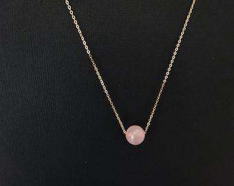 Rose Quartz Necklace, gemstone necklace, crystal necklace, Rose Qurtz stone in gold fill, sterling silver, Rose gold fill