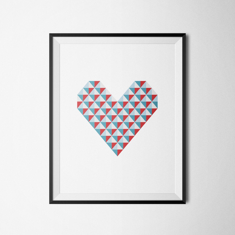 affiche scandinave triangles imprimer coeur impression. Black Bedroom Furniture Sets. Home Design Ideas