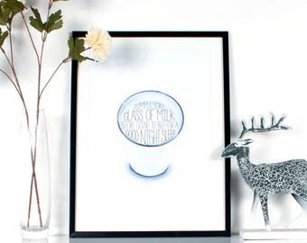 Childhood Memories - Glass Of Milk Printable, Wall Decor, Home Decor, Artwork, A3, Digital Download.