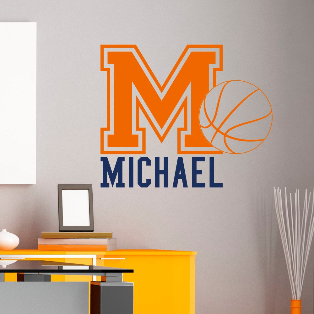 Initial name wall decal basketball sports wall decals for Basketball wall decals