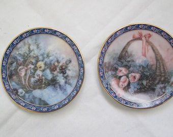 Vintage 1994 Bradex Lena Liu Mini Plates Basket Bouquets Series 2nd Issue Pansies/ Tulips and Lilacs/COA and Original Box