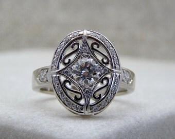 Canadian diamond ring, engagement diamond ring, white diamond ring, Canadian diamond, vintage lady diamond ring, diamond solitaire ring,
