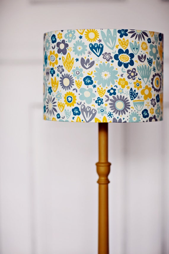 blue yellow and grey floral 25 cm 10 inch cotton drum lamp shade light. Black Bedroom Furniture Sets. Home Design Ideas