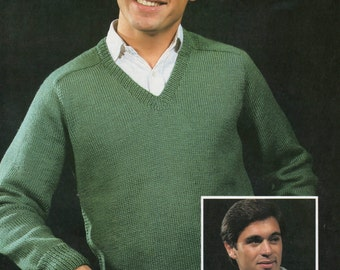 Mens V Neck Sweater Knitting Pattern PDF