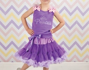 Rapunzel Inspired Rhinestone Princess Pettiskirt Set With Rosette Hair Clip, Halloween Costume, Little Girl, Toddler, Big Girl