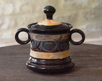 Pottery Sugar Bowl with Lid, Ceramic Sugar Bowl. Wheel Thrown Sugar Bowl, Sugar Box, Sugar Keeper, Black Sugar Bowl