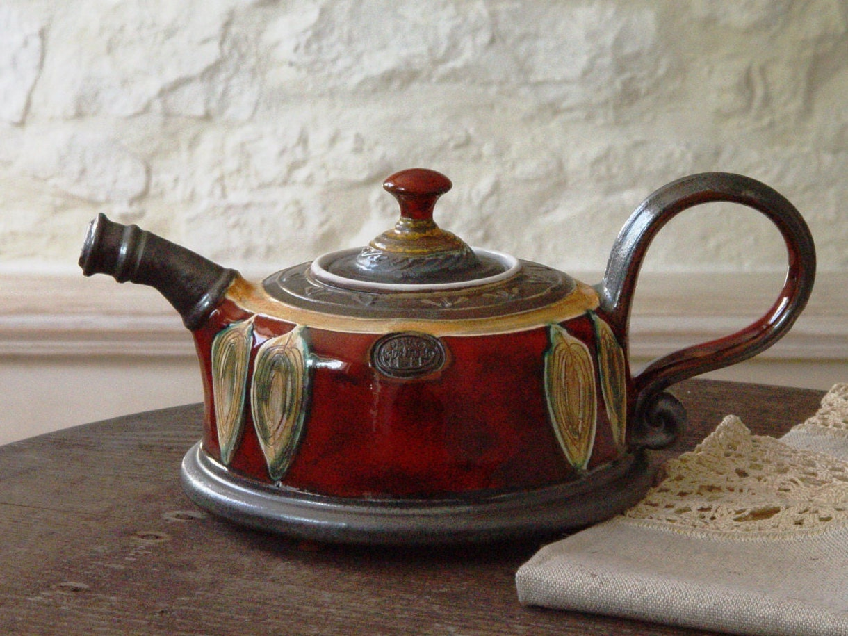 unique pottery teapot wheel thrown ceramic teapot clay tea