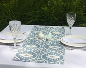 "63"" Ikat Print Table Runner, Cream and Wedgewood Blue Coffee Table Runner, Washed Denim Home Decor, Ikat Fabric, Linens"