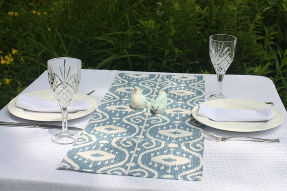 blue ikat table runner