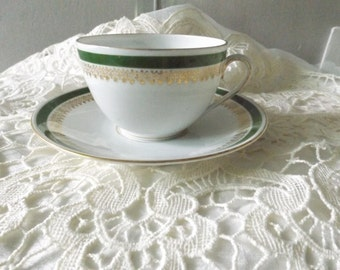 Vintage Imperial Crown China Austria tea cup and saucer Green and Dold Decor