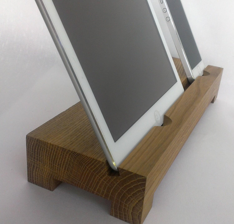 Doppia iphone ipad legno stand supporto da tavolo stand in - Porta ipad da tavolo ...