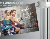 Save the Date Calendar Photo Magnets - Custom Save-the-Date Photo Magnet Cards - HEARTS & ARROWS style Magnetic Cards - Bespoke Engagement