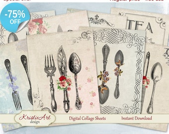 75% OFF SALE Digital Collage Sheet, Cutlery Printable Download, Digital cards C065, Altered Art, Atc Aceo Jpeg printable digital cooking