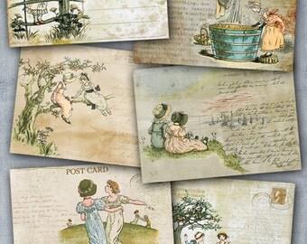 75% OFF SALE Digital collage sheet Vintage Girls - C011 Cardmaking Printable Download Tags Digital Vintage Digital Image ATC card Vintage