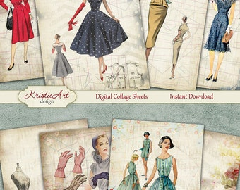 75% OFF SALE Fashion Ladies - Digital Collage Sheet Digital Cards C110 Printable Download Image Tags Digital Atc Cards ACEO Fashion Cards