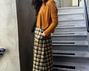 Green Plaid pocketed Skirt
