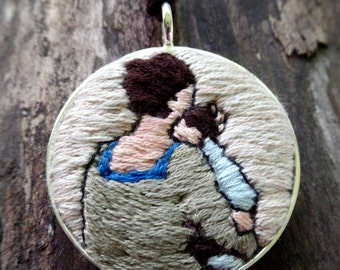 Gift for Mom, Mother and Child Folk Art Hand Embroidered Necklace, Round Pendant, Unique Necklace, Gift for new mom, Gift for new baby,
