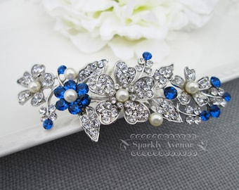 Bridal Hair Comb Blue Wedding Accessory Capri Blue Crystal Swarovski Ivory Pearl Bridal Hair Clip Leaf Hair Comb Flower Bridal Haircomb Leah