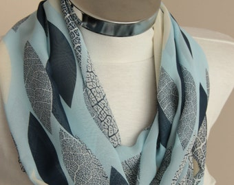 Infinity scarf, Spring & summer fashion scarf soft blue black gray leaf design, Scarf Summer Scarf Infinity Scarf Women Scarves Trend