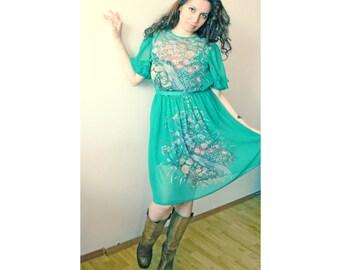 Turquoise chiffon dress, 70s vintage summer dress, pheasant dress, floral dress, romantic dress