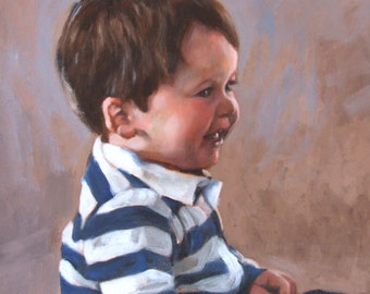Custom portrait, original oil painting, custom child portrait, children, portrait from a photo, laughter, oil painting, original painting