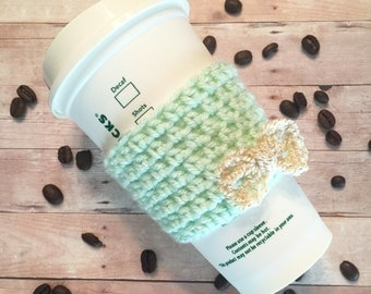 Mint green & Gold Bow Coffee Cozy