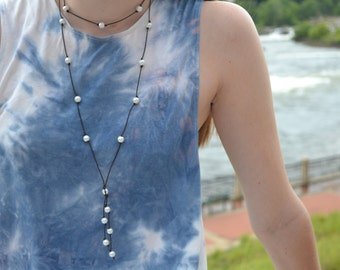 Pearl leather Necklace, DOUBLE wrap around pearl necklace, multi pearled necklace with wrap around