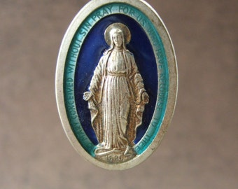Vintage Catholic MIRACULOUS MEDAL Pendant with turquoise and blue enamel
