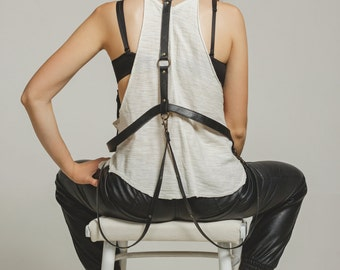 """Black leather body harness, leather harness """"Night Out"""", fashion harness belt"""