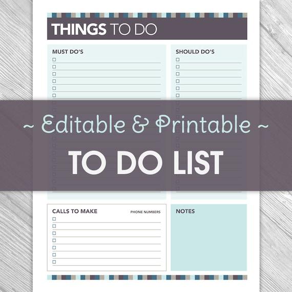 Printable Things To Do Lists: Printable Editable To Do List