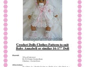 Crochet Pattern Baby Annabell 16 to 17 inch baby doll of similar size instant download crochet pattern